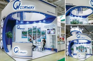 exhibition stand at trade fair for laboratory technology in Dubai