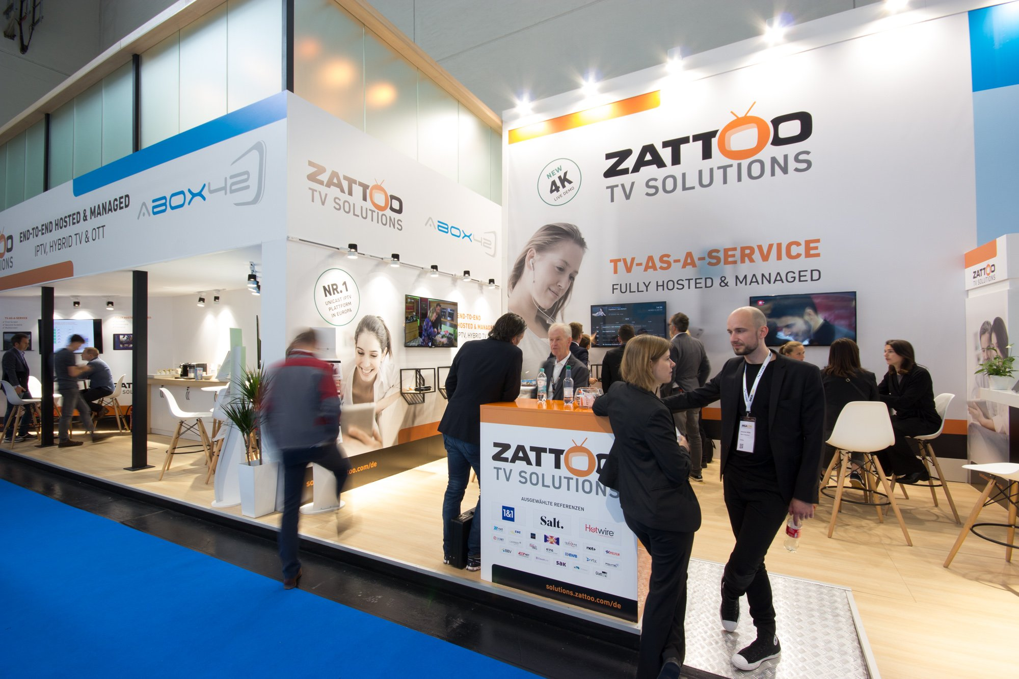 exhibition stand for ZATTOO and ABOX