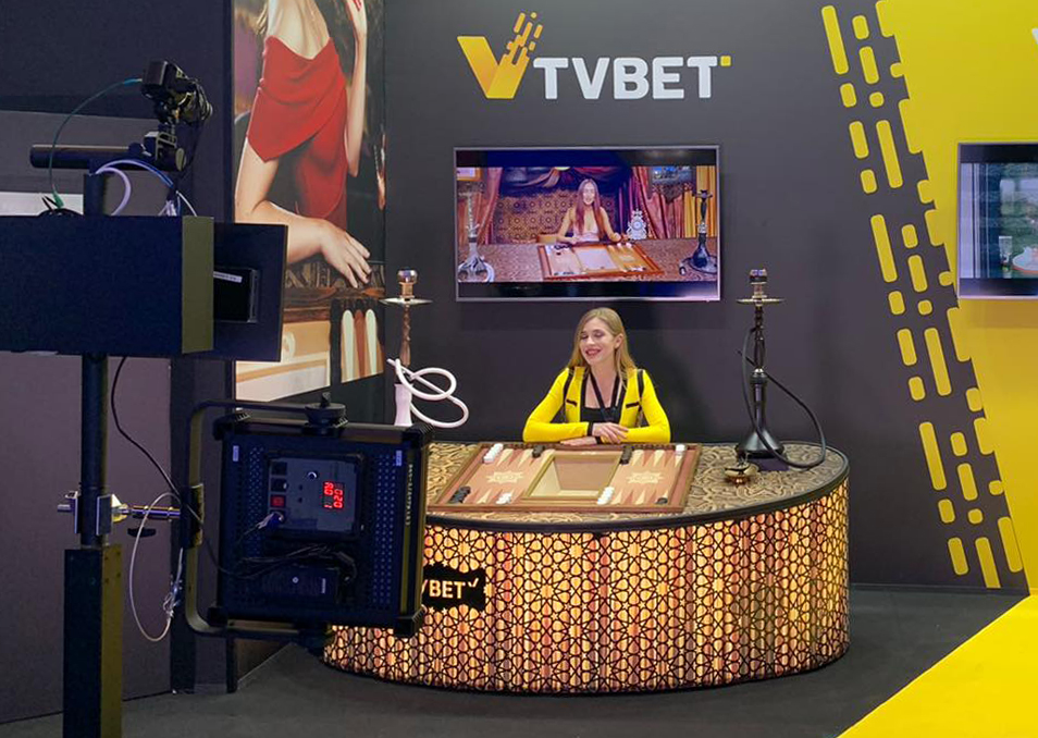 custom-made stand of gaming company TVBET at ICE London