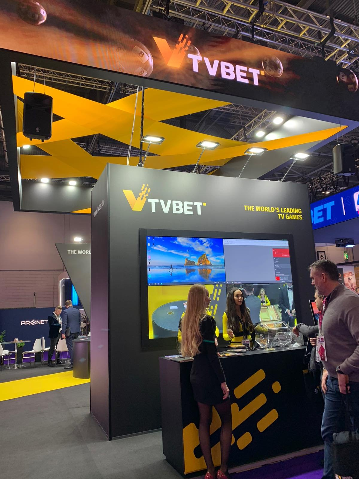 custom stand for TVBET at the ICE London exhibition 2020