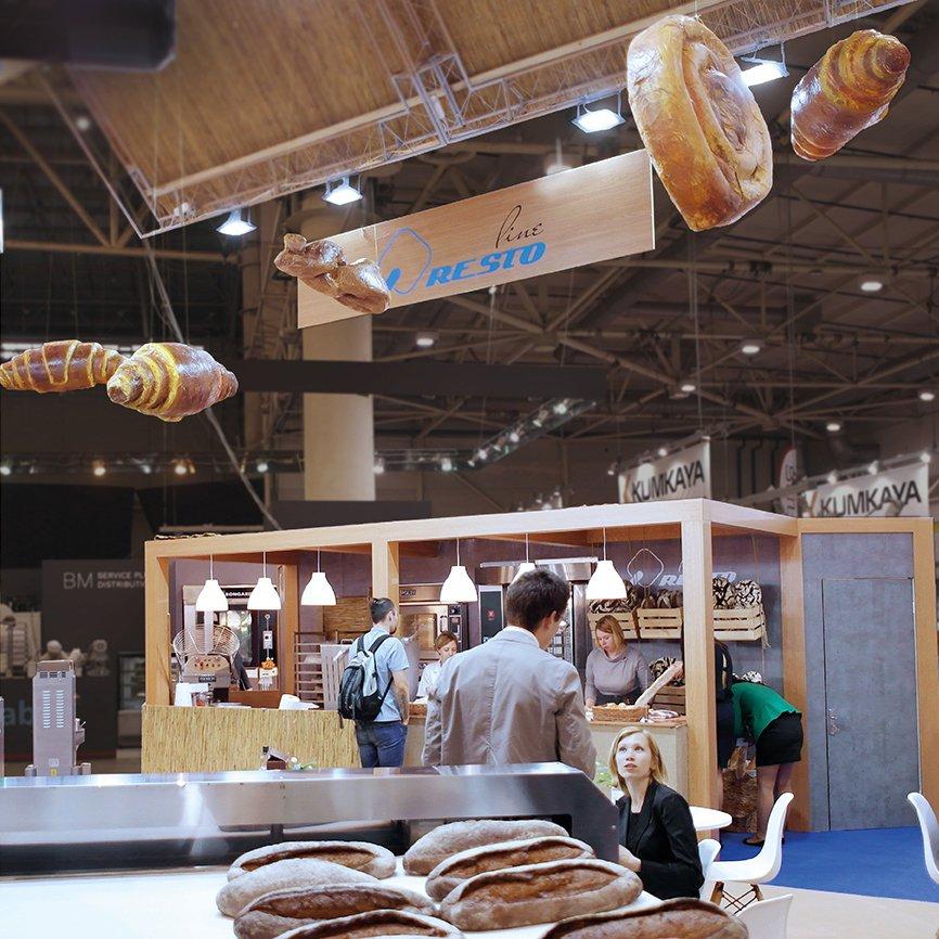 Хлебобулочные изделия хенд-мейд на стенде для хлебопекарни