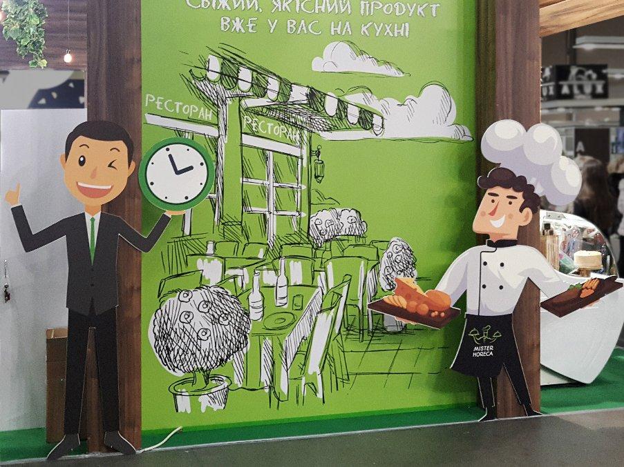 Картонные фигуры на стенде на пищевой выставке
