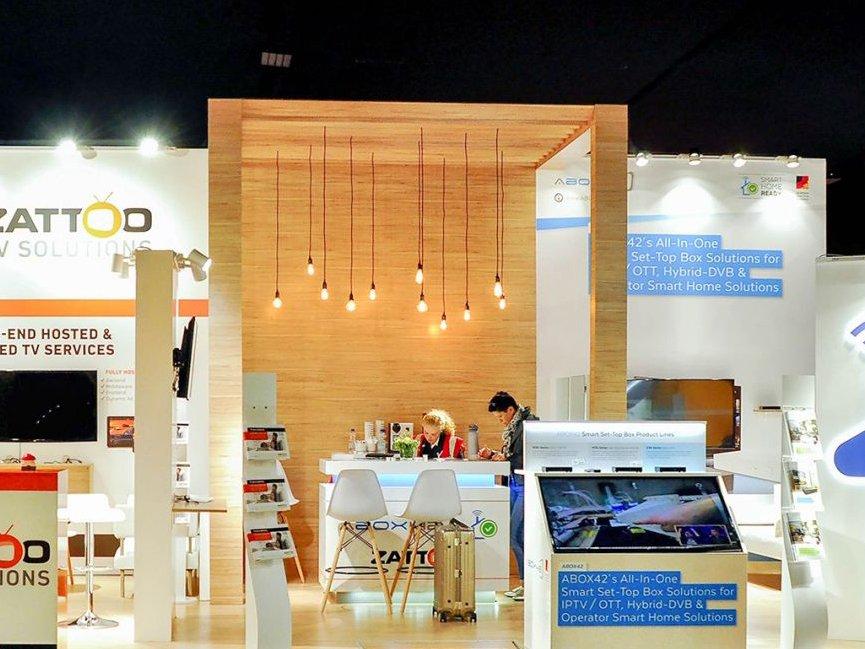 Стенд для немецкой компании ABOX и ZATTOO на выставке в Амстердаме